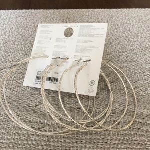 Forever 21 very large hoops 3 pairs new